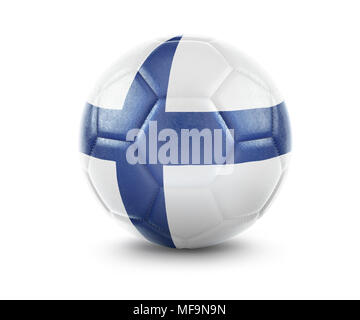 High qualitiy rendering of a soccer ball with the flag of Finland.(series) - Stock Photo