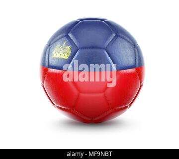 High qualitiy rendering of a soccer ball with the flag of Lichtenstein.(series) - Stock Photo