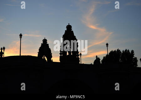 Toledo Bridge over the Manzanares river at dusk cut on the sky in Madrid. Spain. - Stock Photo