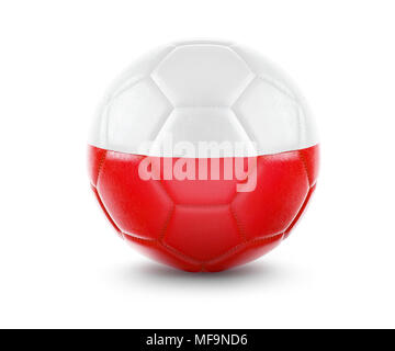 High qualitiy rendering of a soccer ball with the flag of Poland.(series) - Stock Photo