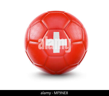 High qualitiy rendering of a soccer ball with the flag of Switzerland.(series) - Stock Photo