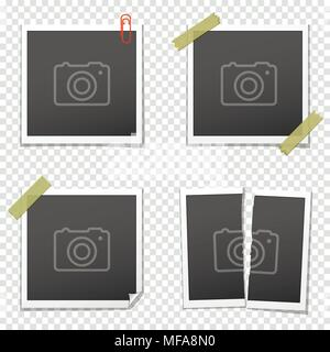 Various vintage photo frames on transparent background. Vector illustration. - Stock Photo