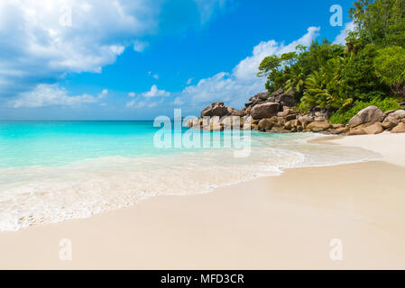 Beautiful Paradise beach - Anse Georgette at Praslin, Seychelles - Stock Photo