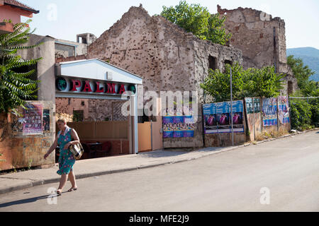 A bombed out building from the Bosnian War in Mostar, Bosnia and Herzegovina - Stock Photo