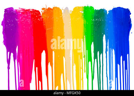 rainbow colors of paint dripping with clipping path - Stock Photo