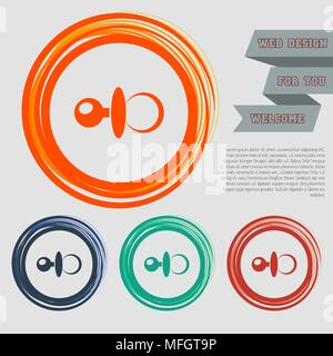 baby pacifier icon on the red, blue, green, orange buttons for your website and design with space text. Vector illustration - Stock Photo