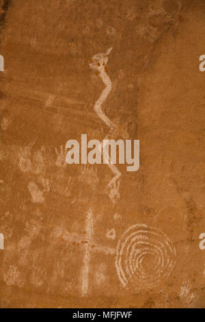 Pictographs, River House Ruin, Ancestral Puebloan Cliff Dwelling, 900-1300 AD, Shash Jaa National Monument, Utah, United States of America - Stock Photo