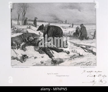 Franco-Prussian War 1870-1871.  Battle of Champigny 30 November-2 December 1870.  2nd corps of the French army making an assault on the Prussians.  Defeat of French made the surrender of Paris inevitable. Chromolithograph. - Stock Photo