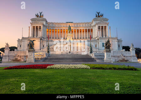 Rome. Cityscape image of the Monument of Victor Emmanuel II, Venezia Square, in Rome, Italy during sunrise. - Stock Photo