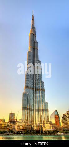 DUBAI, UAE - JANUARY 1: View of Burj Khalifa tower in Dubai on J - Stock Photo