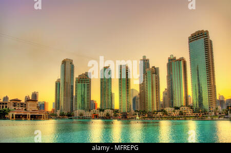 Sunset in Dubai Downtown, United Arab Emirates - Stock Photo