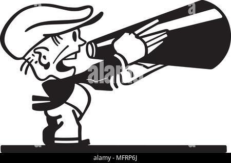 Man With Megaphone - Retro Clipart Illustration - Stock Photo