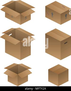 Various Shipping, Packing, and Moving Boxes Vector Illustration - Stock Photo