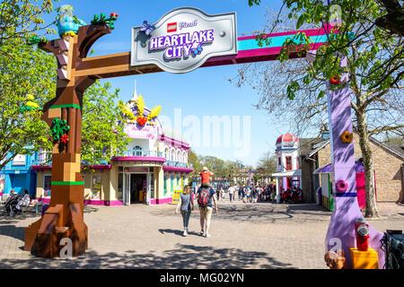 Entrance gate to Hartlake City, Legoland Windsor Resort, Windsor, Berkshire, England, United Kingdom - Stock Photo