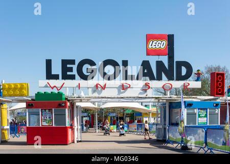 Entrance gate to Legoland Windsor Resort, Windsor, Berkshire, England, United Kingdom - Stock Photo