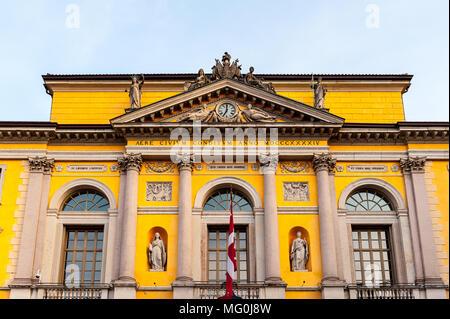 City Hall on the Reform Square in Lugano, Switzerland. Piazza della Reforma is the main square of Lugano. - Stock Photo