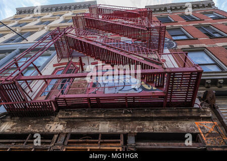 Fire Escape on building, New York - Stock Photo