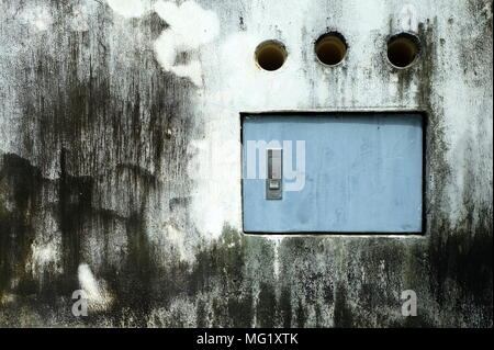 Electric Box on Old Grunge Concrete Wall. - Stock Photo