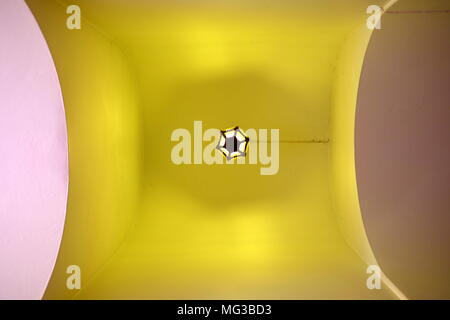 Angle View of Hanging Lamp on Ceiling. - Stock Photo