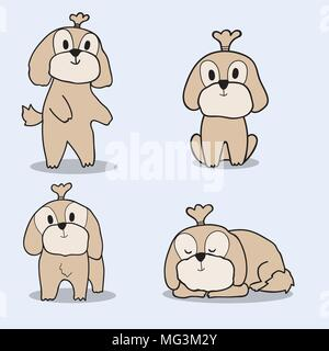 Cute doodle hand drawing shih tzu dog on blue background. - Stock Photo