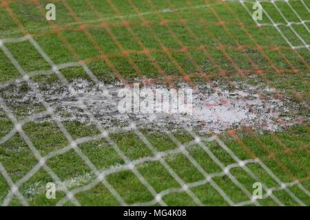 Waterlogged pitch - Stock Photo