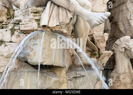 Fragment of fountain in Piazza Navona, Rome, Italy. - Stock Photo
