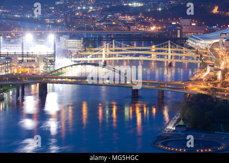 Bridges over the Allegheny River, Pittsburgh, Pennsylvania, USA - Stock Photo