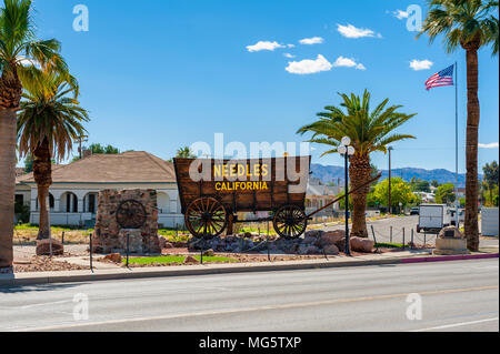 Needles is a city in San Bernardino County, California, USA. It lies near the borders of Arizona and Nevada and has a population of about 4,800. - Stock Photo