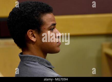 North Miami Beach, Florida, USA. 22nd Mar, 2018. Florida school shooting suspect Nikolas Cruz's brother, Zachary Cruz, sits in court during a delay Friday afternoon, April 27, 2018, in Fort Lauderdale, Fl. Taimy Alvarez, Sun-Sentinel/POOL Credit: Sun-Sentinel/ZUMA Wire/Alamy Live News - Stock Photo