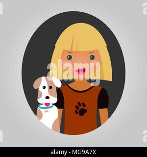 Happy boy or girl with their puppy. Dog lover character. Joyful kid with a pet dog. Vector illustration of unisex person for web site or application.  - Stock Photo