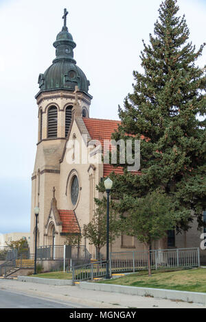 St. Joseph's Catholic Church in Rawlins, Wyoming. According to the Diocese, Saint Joseph's Catholic Church in Rawlins was built in 1915. - Stock Photo