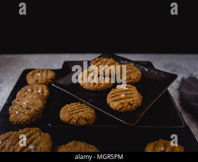Paleo Vegan Cookies, Dark Background - Stock Photo