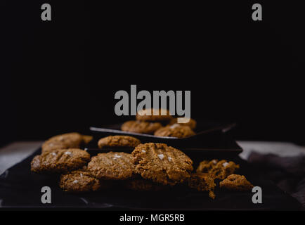 Paleo Vegan Cookies, Dark Background - Stock Photo