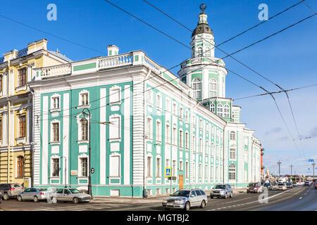 SAINT PETERSBURG, RUSSIA - MARCH 18, 2018: edifice of Kunstkamera (Peter the Great Museum of Anthropology and Ethnography) on Universitetskaya Embankm - Stock Photo
