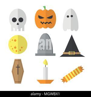 Halloween symbol illustration set vector - in cartoon flat style - Stock Photo