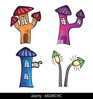 Illustration of the different cartoon houses on a white background - Stock Photo