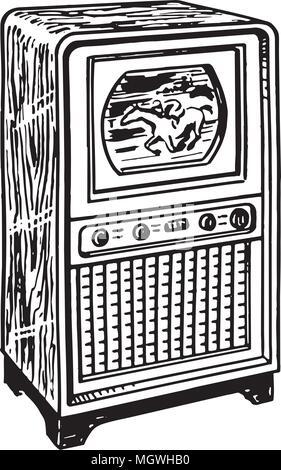 TV 1 - Retro Ad Art Illustration - Stock Photo