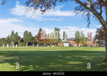 Schools cricket match (Christ's College NZ vs Wellington 1st XI) at Wellington College, Crowthorne, Berkshire, United Kingdom - Stock Photo