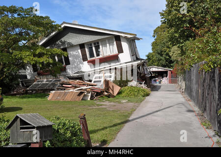 Christchurch, New Zealand - March 26, 2011: House in Avonside collapses in the largest earthquake Christchurch has ever experienced - 7.1 on the Richt - Stock Photo