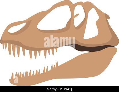 Dinosaur skull isolated - Stock Photo