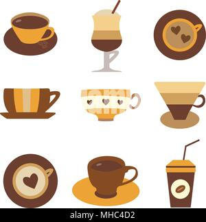 Coffee, tee and hot chocolate in different cups. Colorful mugs for hot drinks, beverages to go. Espresso, latte, cappuccino in glasses and cups. Coffe - Stock Photo