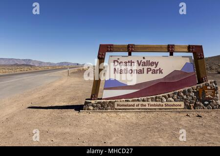 West Entrance Table to Death Valley National Park on California State Highway 190 east of Sierra Nevada - Stock Photo