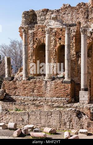 Column of Ancient Greek-Roman theatre of Taormina, Sicily. - Stock Photo