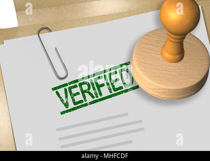 3D illustration of VERIFIED stamp title on business document or contract - Stock Photo