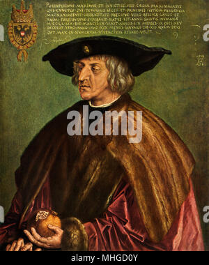 Holy Roman Emperor Maximilian I.  Printed reproduction of an Albrecht Durer painting - Stock Photo