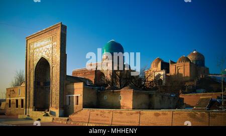 Exterior view to Shah-i-Zinda necropolis in Samarkand in Usbekistan - Stock Photo