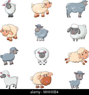 Sheep cute lamb farm iicons set, cartoon style - Stock Photo