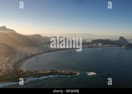 The world famous Copacabana Beach in Rio de Janeiro, Brazil from the air - Stock Photo