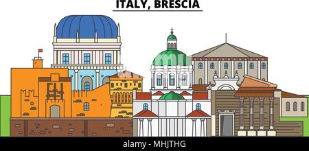 Italy, Brescia. City skyline, architecture, buildings, streets, silhouette, landscape, panorama, landmarks. Editable strokes. Flat design line vector illustration concept. Isolated icons - Stock Photo
