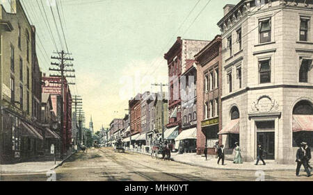 Church Street, Burlington, Vermont; from a 1907 postcard printed by the Detroit Publishing Company. - Stock Photo